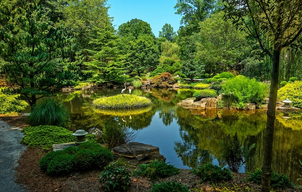 Picture greens, water, trees, pond, Park, stones, USA, Ball Ground, Gibbs Gardens