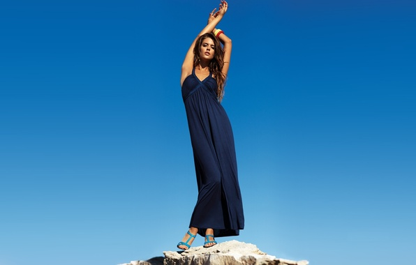 Picture the sky, girl, pose, model, hair, dress, blue, Clara Alonso