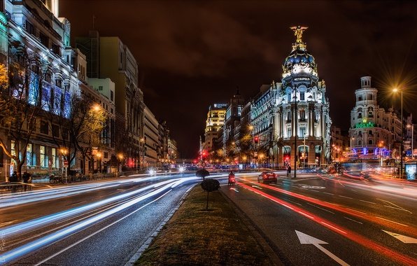 Picture road, machine, night, the city, people, building, home, excerpt, architecture, Spain, Madrid, Madrid, Alcalá de …