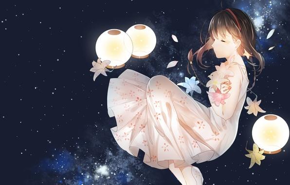 Picture the sky, girl, stars, flowers, anime, petals, art, vocaloid, yuezheng ling, vocaloid china, weitu