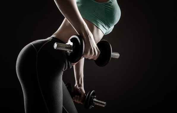 Picture sexy, pose, workout, fitness, dumbbells