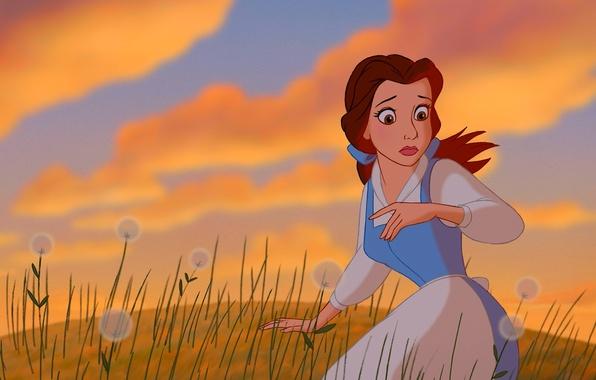 Wallpaper sky, field, dandelions, Belle, Beauty and The ...