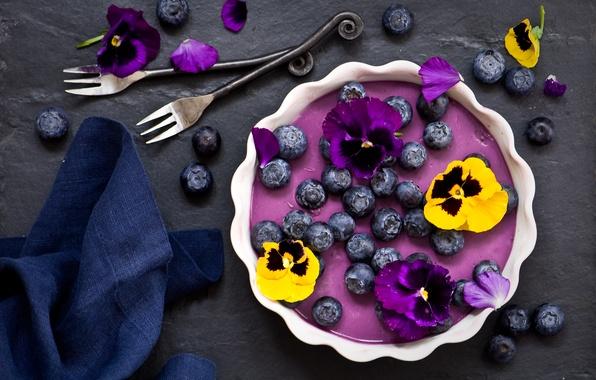 Photo wallpaper flowers, berries, blueberries, Pansy, dessert, napkin, fork, Panna cotta, blueberry Panna cotta