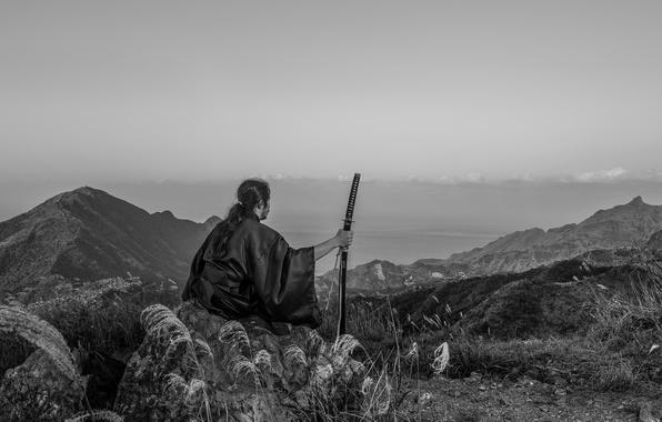Picture mountains, nature, sword, katana, horizon, samurai, male, kimono