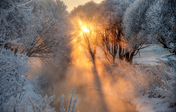 Picture frost, river, dawn, Winter