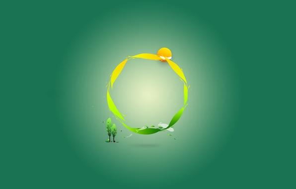 Picture green, round, minimalism