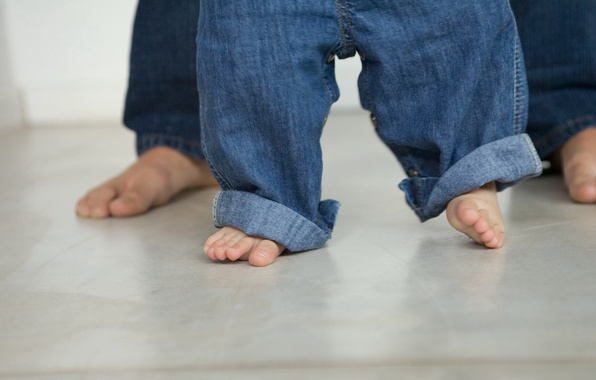 Picture feet, mood, child, baby, father, baby, child, Lala, first steps