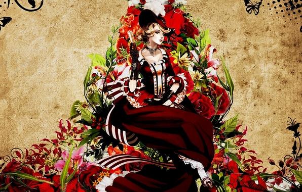 Picture girl, butterfly, flowers, pattern, hat, fan