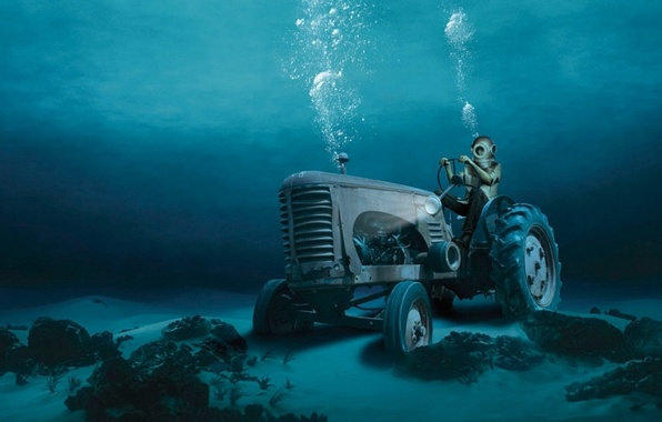 Picture water, bubbles, the bottom, the diver, tractor