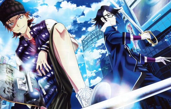Picture the city, sword, glasses, form, guys, skate, K Project, Yata Misaki, Fushimi Saruhiko
