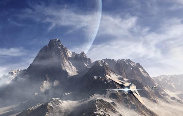 Picture snow, flight, mountains, the plane, fiction, tops, planet, art