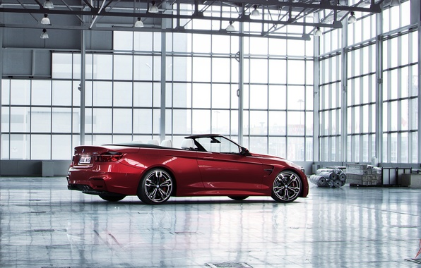 Picture car, BMW, hangar, red, convertible, render, bmw m4