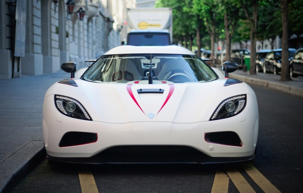 Picture white, trees, machine, street, before, van, supercar, white, supercar, cars, front, tree, street, agera R, …