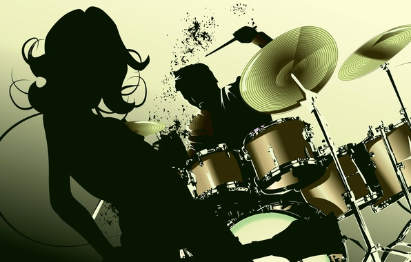 Picture girl, vector, silhouette, drums, dancing, disco