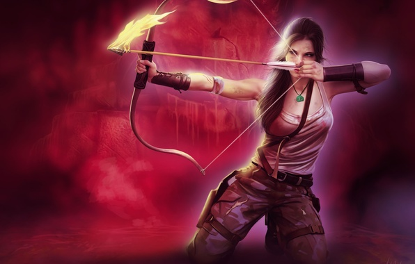 Picture look, girl, face, weapons, background, fire, hair, Mike, bow, art, arrow, Tomb Raider, aiming, ponytail, …