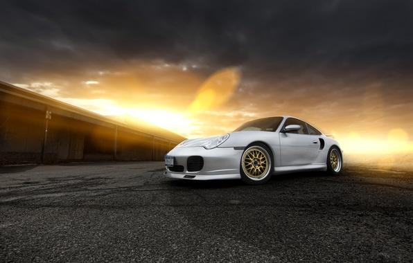 Picture sunset, glare, 911, Porsche, silver, Porsche, front, silvery