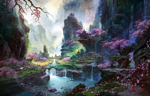 Picture girl, trees, landscape, mountains, river, rocks, Asia, waterfall, petals, Sakura, art, temple