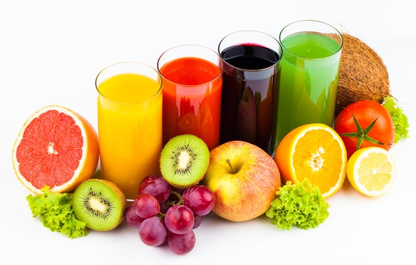 Picture background, Fruit, vegetables, juices