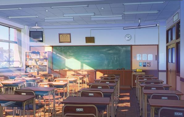 Picture window, art, class, Board, desks, classroom
