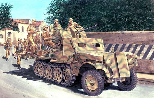 Picture street, figure, art, camouflage, coloring, uniforms, German, WW2, half-track, soldiers. equipment