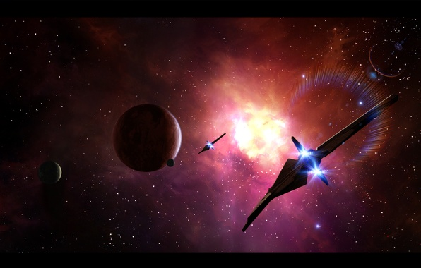 Picture space, planet, art, space, art, spaceships, planet, starlight