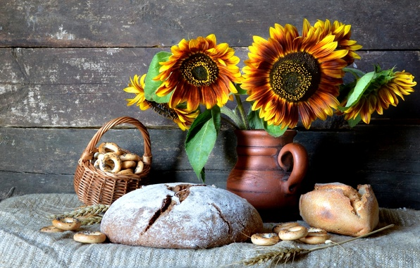 Picture sunflowers, spikelets, bread, pitcher, still life, drying