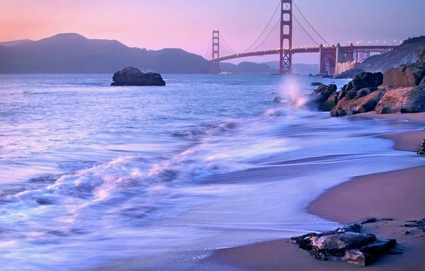Picture landscape, bridge, Strait, stones, lilac, shore, the evening, CA, San Francisco, Golden Gate, USA, USA, …