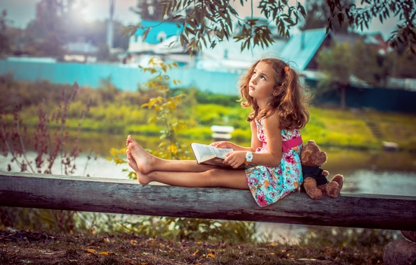 Picture nature, toy, child, bear, Girl, dreams, book