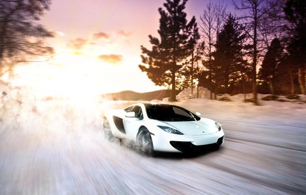 Picture McLaren, Winter, Sunset, MP4-12C, Snow, White, exotic, Supercar, fast, sportscar