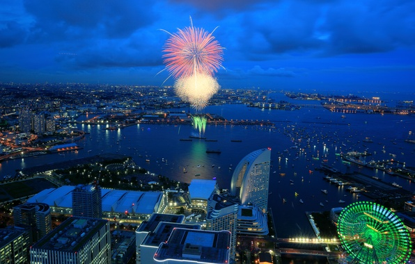 Picture sea, night, the city, lights, home, Bay, salute, Japan, Ferris wheel, fireworks, Yokohama