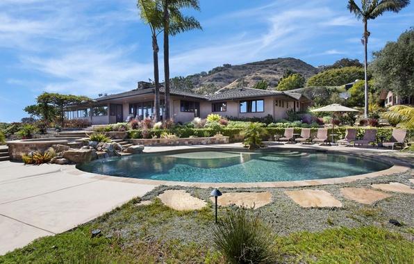 Picture house, stones, palm trees, Villa, pool, CA, USA, Laguna Beach