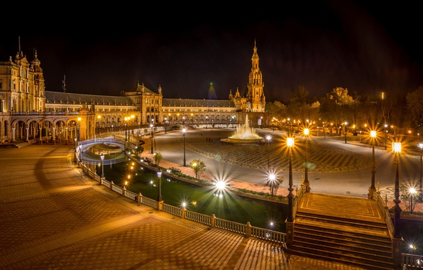 Picture night, lights, Spain, Seville, Espana