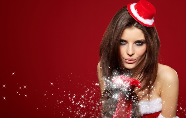 Picture girl, snowflakes, holiday, New Year, brown hair, hat, blue eyes, glove, red background