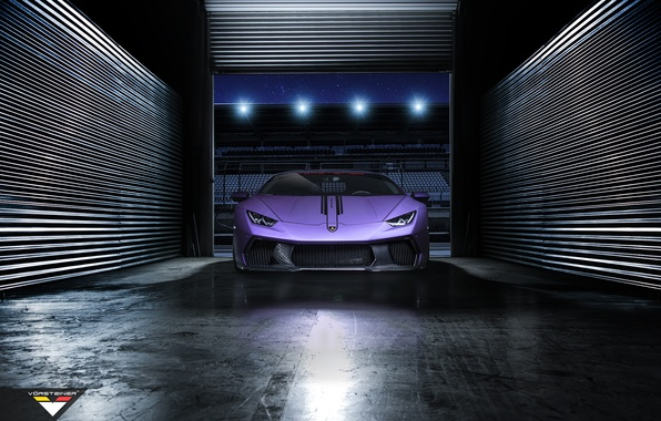 Picture night, garage, supercar, tuning, vorsteiner, lamborghini Huracan, Novara