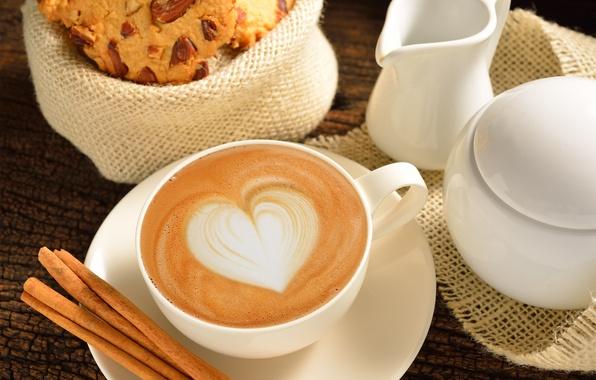 Picture love, heart, coffee, milk, Cup, love, heart, cocoa, coffe