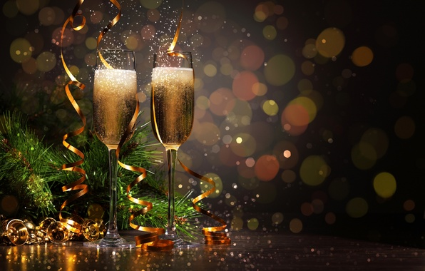Picture branches, glasses, drink, twilight, tinsel, champagne, tree