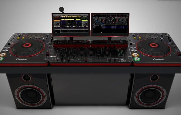Picture background, speakers, remote, vinyl, monitors