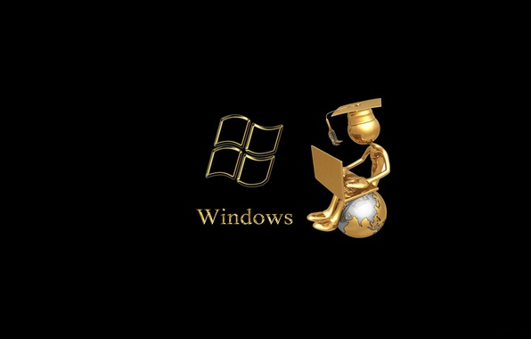 Picture people, laptop, windows, sitting, globe, master, black background