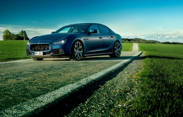 Picture blue, photo, Maserati, car, Ghibli, luxury, Novitec Tridente