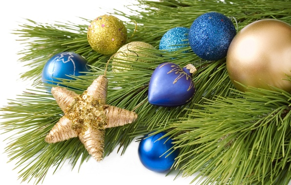 Picture balls, decoration, balls, toys, star, tree, branch, New Year, Christmas, Christmas, blue, gold, holidays, New …