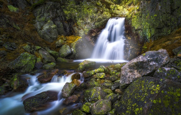 Picture stones, waterfall, Norway, Norway, Norefjell, Norefjell