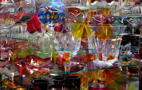 Picture glass, abstraction, rendering, glass, crystal, dishes, vase