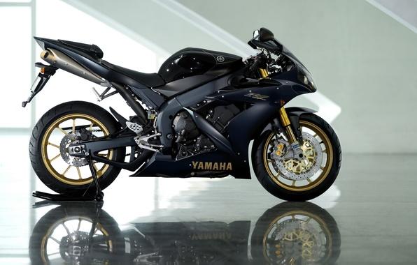 Picture reflection, black, motorcycle, Yamaha, black, Yamaha, YZF-R1