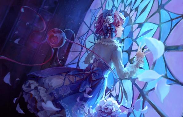 Picture girl, flowers, anime, petals, art, stained glass, touhou, komeiji satori, jlien-