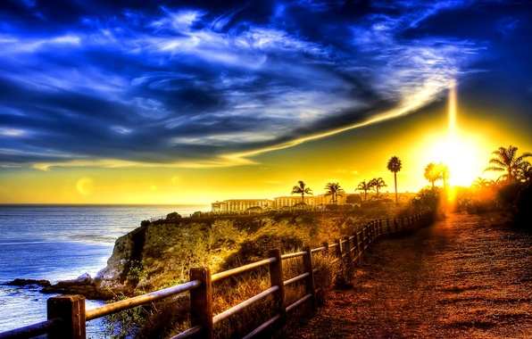 Picture ROAD, SEA, The OCEAN, The SKY, CLOUDS, SUNSET, LIGHT, COAST, RAYS, BUILDING, DAWN, The FENCE, …