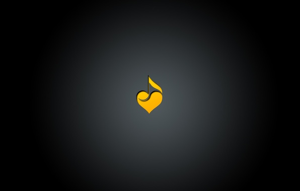 Picture music, black, heart, minimalism, gradient, music, love, note, center