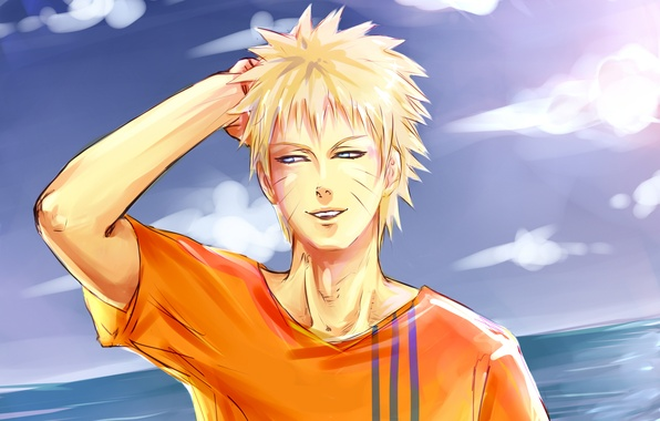 Picture the sky, water, smile, naruto, guy, Naruto, Uzumaki