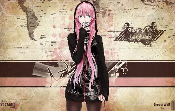 Picture the inscription, map, hood, wire, microphone, vocaloid, megurine luka