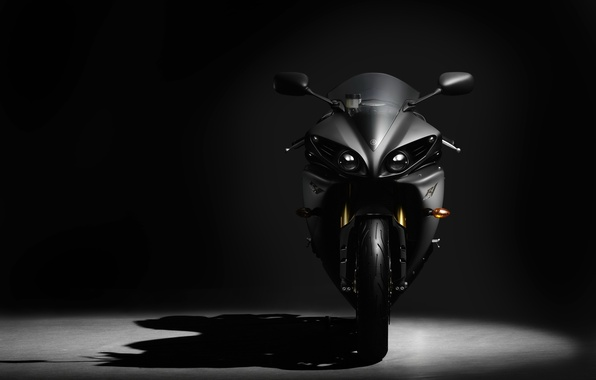 Picture background, yamaha, sportbike, BLACK, COLOR, VIEW, SHADOW, FRONT
