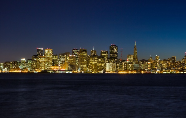 Picture night, the city, lights, the ocean, San Francisco Skyline